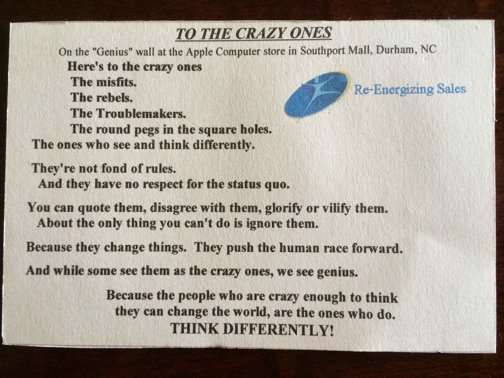 "Calling ""the crazy ones"" – the ones who think they can change the world… (is that you??)"